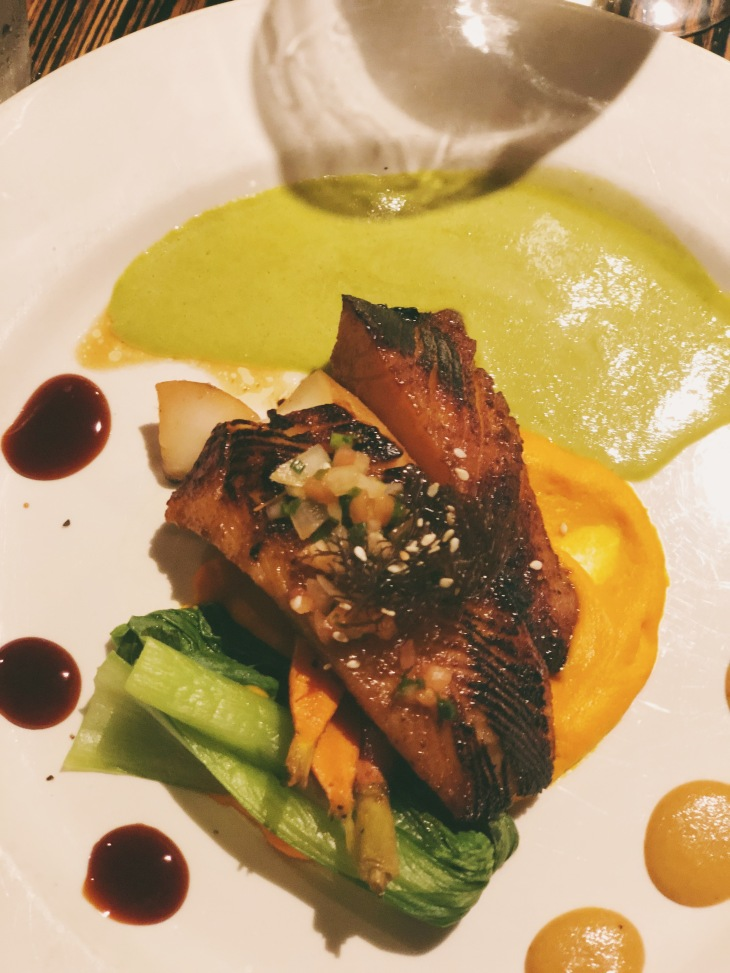 Miso Butterfish, carrot puree & wasabi sauce