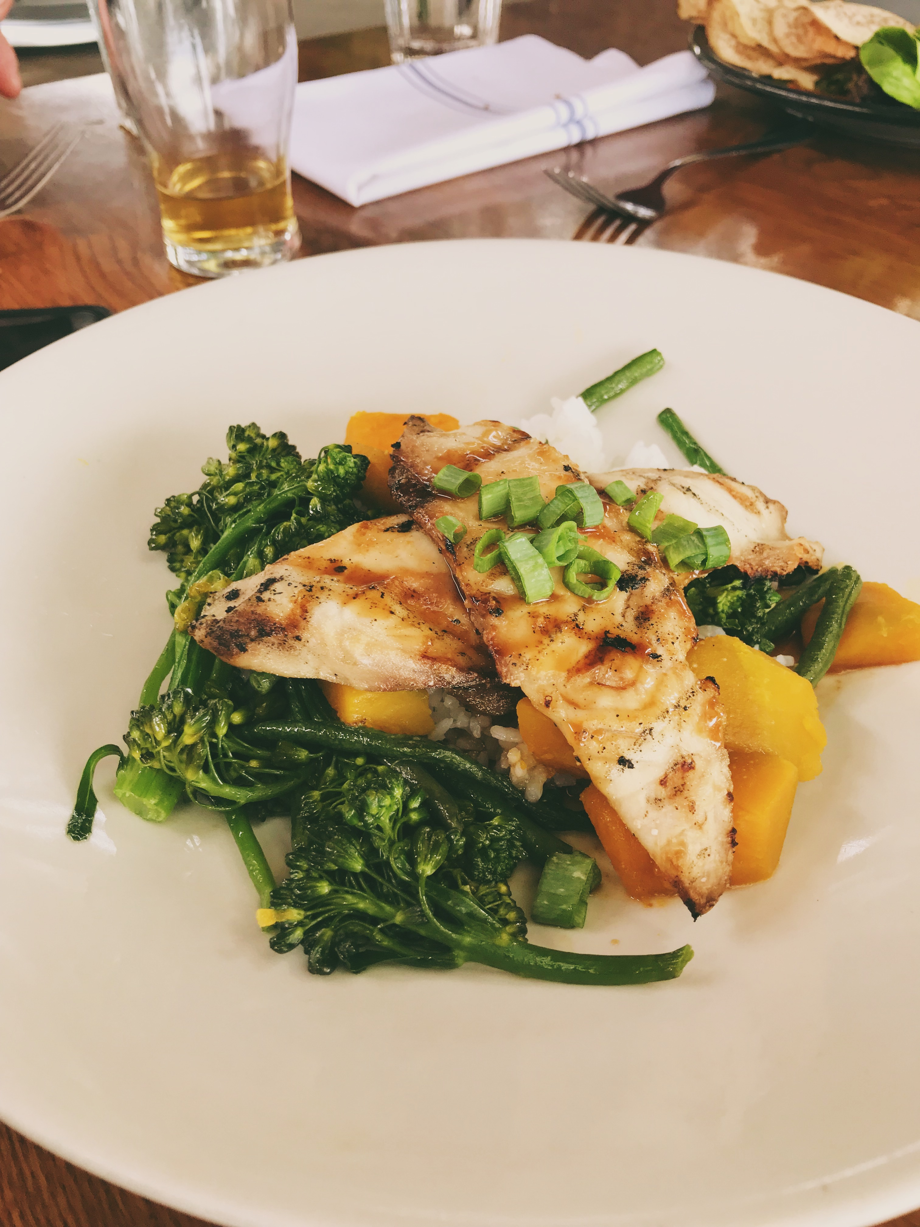 Fresh Mahi Mahi over rice with broccolini & squash